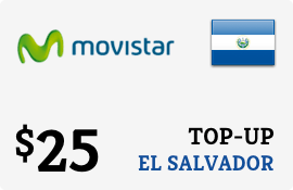 $25.00 Movistar El Salvador Prepaid Wireless Top-Up