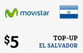 $5.00 Movistar El Salvador Prepaid Wireless Top-Up