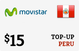 $15.00 Movistar Peru Prepaid Wireless Top-Up