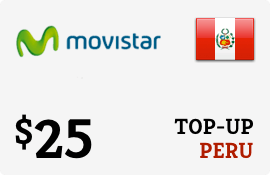 $25.00 Movistar Peru Prepaid Wireless Top-Up