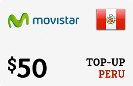 $50.00 Movistar Peru Prepaid Wireless Top-Up