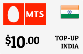 $10.00 MTS India Prepaid Wireless Top-Up