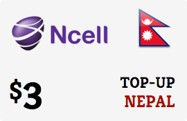 $3.00 Ncell Nepal Prepaid Wireless Top-Up