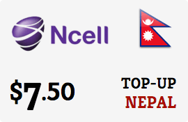 $7.50 Ncell Nepal Prepaid Wireless Top-Up