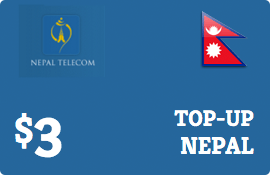 $3.00 Nepal Telecom GSM Nepal  Prepaid Wireless Top-Up