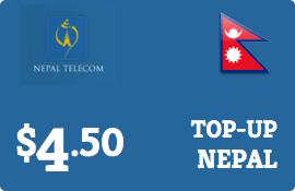 $4.50 Nepal Telecom GSM Nepal  Prepaid Wireless Top-Up