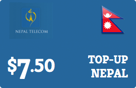$7.50 Nepal Telecom GSM Nepal  Prepaid Wireless Top-Up