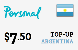 $7.50 Personal Argentina Prepaid Wireless Top-Up