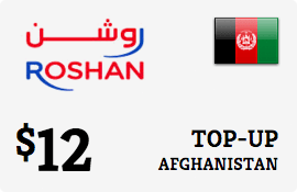 $12.00 Roshan Afghanistan Prepaid Wireless Top-Up