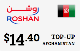 $14.40 Roshan Afghanistan Prepaid Wireless Top-Up