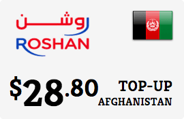 $28.80 Roshan Afghanistan Prepaid Wireless Top-Up