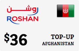 $36.00 Roshan Afghanistan Prepaid Wireless Top-Up