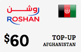 $60.00 Roshan Afghanistan Prepaid Wireless Top-Up