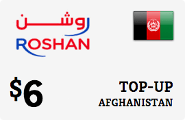 $6.00 Roshan Afghanistan Prepaid Wireless Top-Up