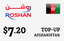 $7.20 Roshan Afghanistan Prepaid Wireless Top-Up