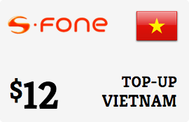 $12.00 S-Fone Vietnam Prepaid Wireless Top-Up