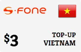 $3.00 S-Fone Vietnam Prepaid Wireless Top-Up