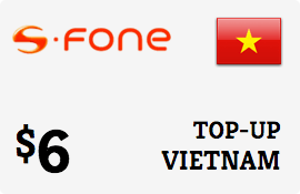 $6.00 S-Fone Vietnam Prepaid Wireless Top-Up