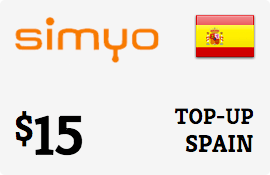$15.00 Simyo Spain  Prepaid Wireless Top-Up