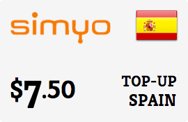 $7.50 Simyo Spain  Prepaid Wireless Top-Up