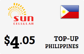$4.05 Sun Cellular Philippines Prepaid Wireless Top-Up