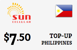 $7.50 Sun Cellular Philippines Prepaid Wireless Top-Up