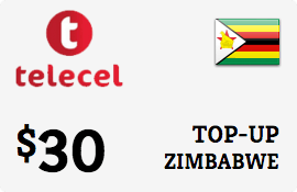 $30.00 Telecel Zimbabwe Prepaid Wireless Top-Up