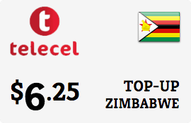 $6.25 Telecel Zimbabwe Prepaid Wireless Top-Up