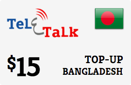 $15.00 Teletalk Bangladesh Prepaid Wireless Top-Up
