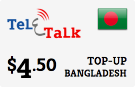 $4.50 Teletalk Bangladesh Prepaid Wireless Top-Up
