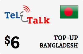 $6.00 Teletalk Bangladesh Prepaid Wireless Top-Up