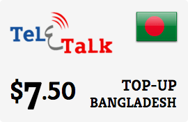 $7.50 Teletalk Bangladesh Prepaid Wireless Top-Up