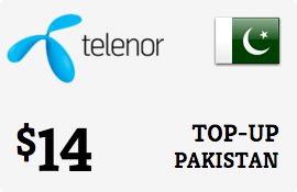 $14.00 Telenor Pakistan Prepaid Wireless Top-Up