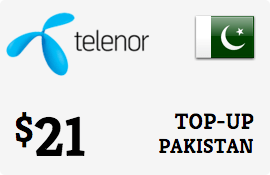 $21.00 Telenor Pakistan Prepaid Wireless Top-Up