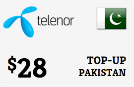 $28.00 Telenor Pakistan Prepaid Wireless Top-Up