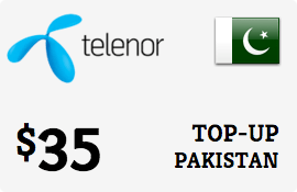 $35.00 Telenor Pakistan Prepaid Wireless Top-Up