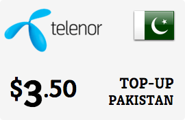 $3.50 Telenor Pakistan Prepaid Wireless Top-Up