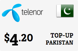 $4.20 Telenor Pakistan Prepaid Wireless Top-Up