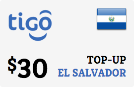 $30.00 Tigo El Salvador Prepaid Wireless Top-Up