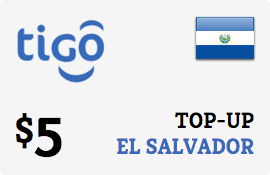 $5.00 Tigo El Salvador Prepaid Wireless Top-Up