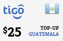 $25.00 Tigo Guatemala Prepaid Wireless Top-Up