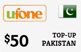 $50.00 Ufone Pakistan Prepaid Wireless Top-Up