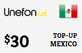 $30.00 Unefon Mexico Prepaid Wireless Top-Up