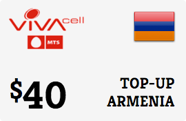 $40.00 VivaCell-MTS Armenia Prepaid Wireless Top-Up