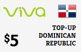 $5.00 Viva Dominican Republic  Prepaid Wireless Top-Up