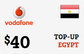 $40.00 Vodafone Egypt Prepaid Wireless Top-Up