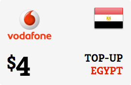 $4.00 Vodafone Egypt Prepaid Wireless Top-Up
