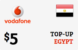 $5.00 Vodafone Egypt Prepaid Wireless Top-Up