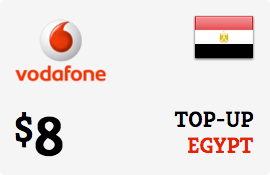 $8.00 Vodafone Egypt Prepaid Wireless Top-Up