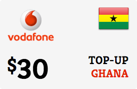 $30.00 Vodafone Ghana Prepaid Wireless Top-Up